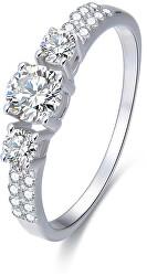 Strieborný prsteň s kryštálmi AGG197