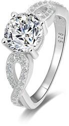 Stříbrný prsten s třpytivými krystaly AGG204