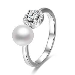 Otevřený stříbrný prsten se zirkony a perlou AGG339