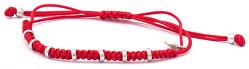 Stylový šňůrkový červený kabala náramek AGB546