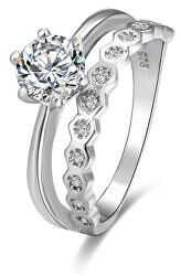 Trblietavý dámsky prsteň so zirkónmi AGG384
