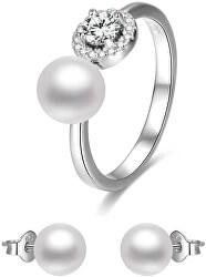 Zvýhodnená sada perlových šperkov Beneto (náušnice, prsteň veľkosť M)