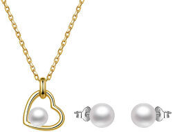 Zvýhodnená sada perlových šperkov Beneto (retiazka, prívesok, náušnice)