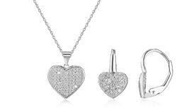 Zvýhodněná stříbrná sada Srdce (náhrdelník, náušnice)