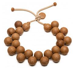 Originálne hnedý náhrdelník Bioballs Legno C206-0003 LE