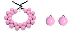 Zvýhodněná růžová sada Malva (náhrdelník, náušnice)