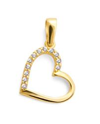 Prívesok zo žltého zlata srdce so zirkónmi AUH0003-G-WH-0045