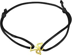 Čierny kabala náramok so zlatým anjelikom KA7010