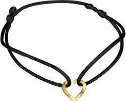 Čierny kabala náramok so zlatým srdiečkom KA7009