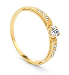 Dámský prsten ze žlutého zlata se zirkony AUG0002-G-WH