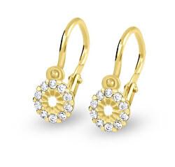 Dětské náušnice ze žlutého zlata s krystaly 239 001 00516