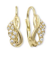 Elegantní zlaté náušnice s čirými krystaly 745 239 001 00837 0000000