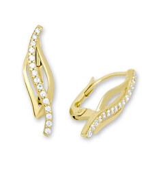 Elegantní zlaté náušnice s krystaly 745 239 001 00579 0000000