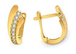 Elegantné zlaté náušnice so zirkónmi AUP0009-G-WH-0245