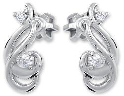 Jemné náušnice z bílého zlata s krystaly 239 001 01073 07