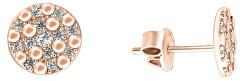Jemné náušnice z ružového zlata so zirkónmi SILVER102_AU_R