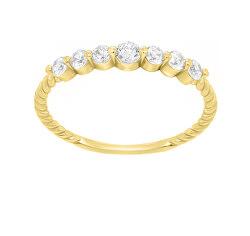 Gyengéd sárga arany gyűrű cirkónium kövekkel GR162YAU