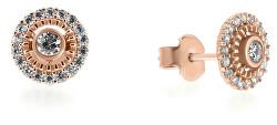 Krásne náušnice z ružového zlata so zirkónmi SILVER014_AU_R