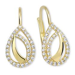 Módní náušnice ze žlutého zlata s krystaly 745 239 001 00828 0000000