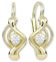 Módní zlaté náušnice s čirým krystalem 236 001 01048