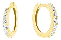 Cercei atemporali din aur galben cu zirconii pe077_AU_Y