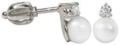 Náušnice z bieleho zlata s kryštálom a perlou 745 235 001 00101 0700000
