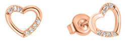 Náušnice z ružového zlata srdce so zirkónmi GOLD053_AU_R