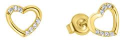 Náušnice zo žltého zlata srdce so zirkónmi GOLD053_AU_Y
