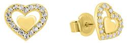 Náušnice zo žltého zlata srdiečka so zirkónmi GOLD020_AU_Y