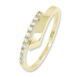 Gyengéd női gyűrű sárga aranyból kristályokkal 229 001 00857