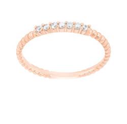 Bájos rózsaszín arany gyűrű cirkónium kövekkel  SR045RAU