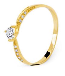 Gyönyörű sárga arany gyűrű cirkónium kövekkel  AUG0004-G