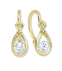 Očarujúce zlaté náušnice s čírymi kryštálmi 236 001 01016