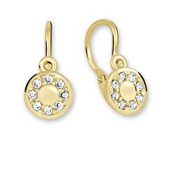 Půvabné zlaté náušnice s čirými krystaly 239 001 00729
