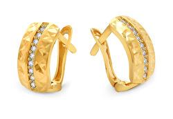 Pôvabné zlaté náušnice so zirkónmi AUP0008-G-WH-0145