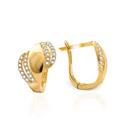 Pôvabné zlaté náušnice so zirkónmi AUP0010-G-WH-0220