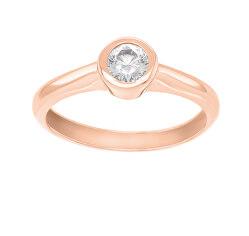 Bájos rózsaszín arany gyűrű cirkónium kövekkel  SR042RAU