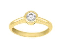 Gyönyörű sárga arany gyűrű cirkónium kövekkel SR042YAU