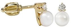 Romantické zlaté náušnice s pravou perlou 745 235 001 00101 0000000