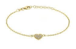 Romantický náramok zo žltého zlata so srdiečkom BR11aAUY