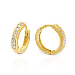Stílusos arany fülbevaló csillogó cirkónium kövekkel AUP0015
