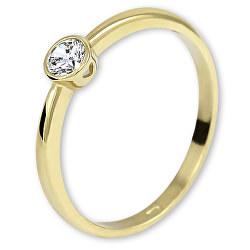 Eljegyzési sárga arany gyűrű kristállyal 226 001 01079