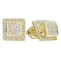 Zlaté čtvercové náušnice s čirými krystaly 2v1 239 001 00861 00