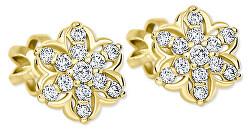 Zlaté hviezdičkové náušnice s kryštálom 239 001 00940
