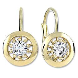 Zlaté kulaté náušnice s čirými krystaly 236 001 01045