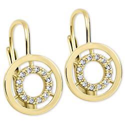 Zlaté kulaté náušnice s čirými krystaly 239 001 00934