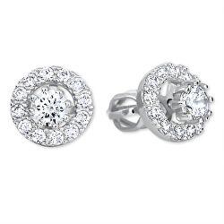 Okrúhle náušnice z bieleho zlata s kryštálmi 2v1 239 001 00860 07