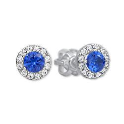 Zlaté okrúhle náušnice s modrým kryštálom 239 001 00806 07