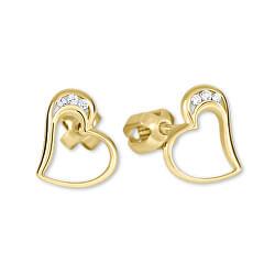 Goldene Ohrstecker Herz mit Kristallen 239 001 00772