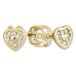 Zlaté náušnice Srdíčka s krystaly 239 001 00724